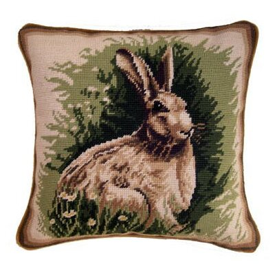 Espey Handmade Needlepoint Rabbit Wool Throw Pillow