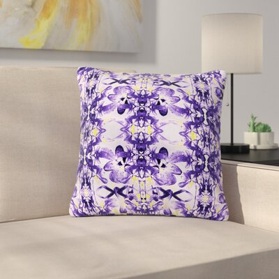Dawid Roc Tropical Orchid Floral Outdoor Throw Pillow Size: 16 H x 16 W x 5 D, Color: Purple/Lavender
