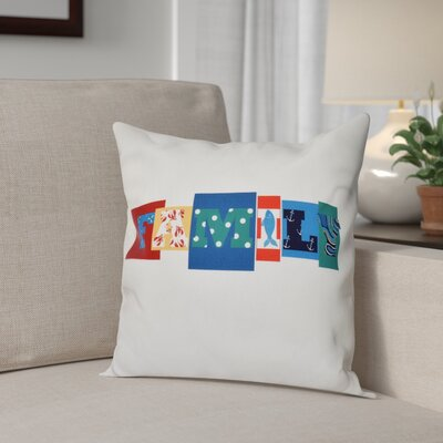 Scotland Family Fun Throw Pillow Size: 16 H x 16 W, Color: Blue