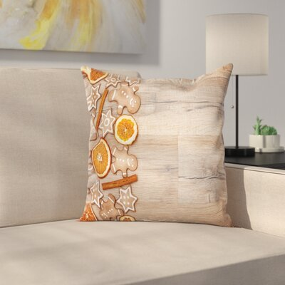 Gingerbread Man Aromatic Sweet Square Pillow Cover Size: 16 x 16