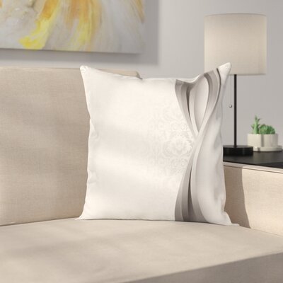 Wavy Stripes Flowers Square Cushion Pillow Cover Size: 18 x 18