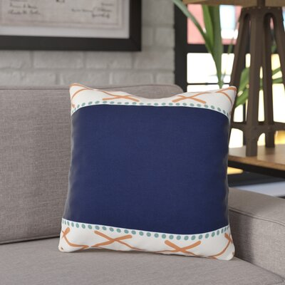 Adne Knot Fancy Outdoor Throw Pillow Size: 16 H x 16 W x 3 D, Color: Orange/Navy Blue