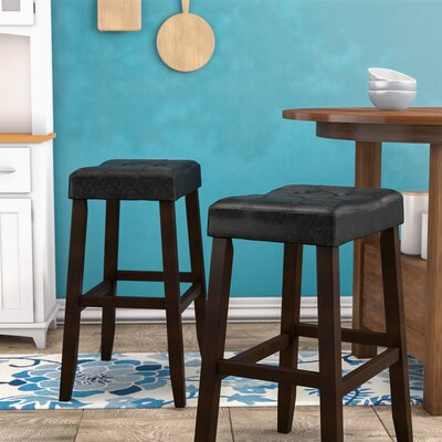 Lyndale Saddle 29 Bar Stool Upholstery: Black