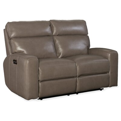 Mowry Power Motion Leather Reclining Loveseat Upholstery: Gray