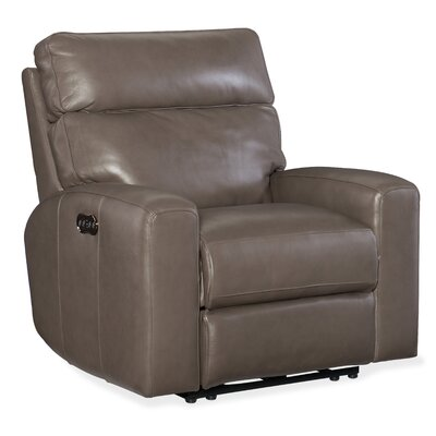 Mowry Motion Leather Power Recliner Upholstery: Gray