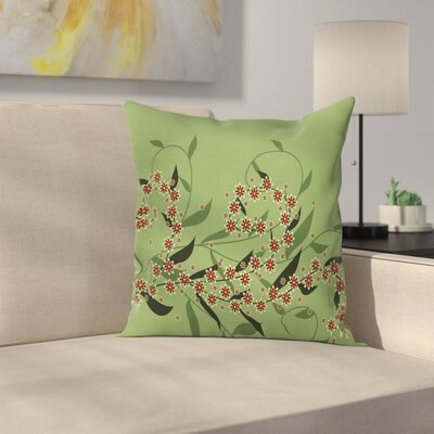 Modern Removable Floral Pillow Cover with Zipper Size: 18 x 18