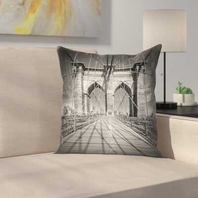 Brooklyn Bridge New York City In Detail Throw Pillow Size: 16 x 16