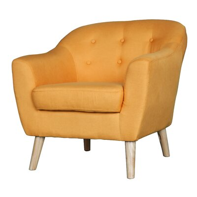 Zendejas Mid Century Modern Barrel Chair Upholstery: Yellow
