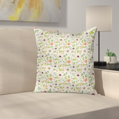 Anemone Flourish Artwork Square Cushion Pillow Cover Size: 16 x 16