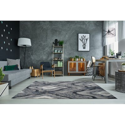Toronto Etobicoke Gray/Cream Area Rug Rug Size: Rectangle 27 x 411