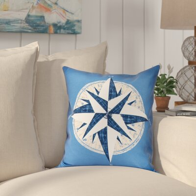 Hancock Compass Geometric Print Outdoor Throw Pillow Size: 20 H x 20 W, Color: Blue