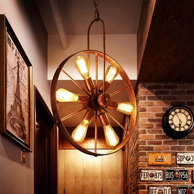 Gillock Wagon Wheel 6-Light Sputnik Chandelier