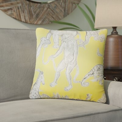 Wildhollow Graphic Cotton Throw Pillow Color: Yellow