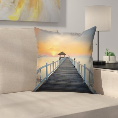 Nautical Wood Path on Beach Square Pillow Cover Size: 24 x 24