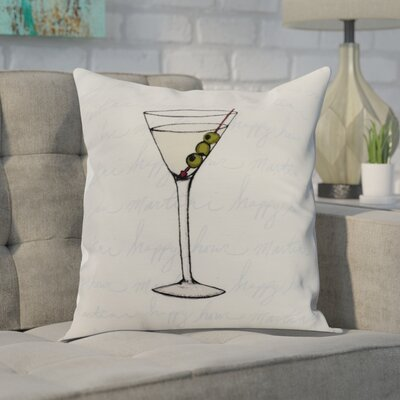 Carmack Martini Glass Throw Pillow Color: Pale Blue, Size: 16