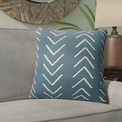 Bemelle Mud Cloth Throw Pillow with Double Sided Print Size: 18 H x 18 W, Color: Blue/ Ivory
