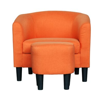 Ayre Barrel Chair and Ottoman Upholstery: Orange