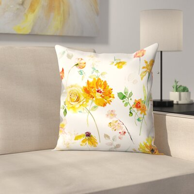 Blue Peony Throw Pillow Size: 18 x 18