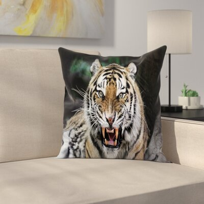 Roaring Tiger Wildlife Square Pillow Cover Size: 16 x 16
