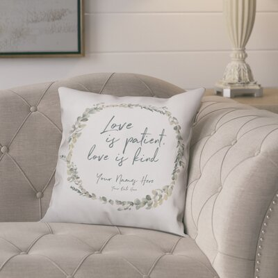 Proteus Love is Patient Wreath Throw Pillow