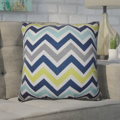 Bouck Zigzag Cotton Throw Pillow Color: Navy