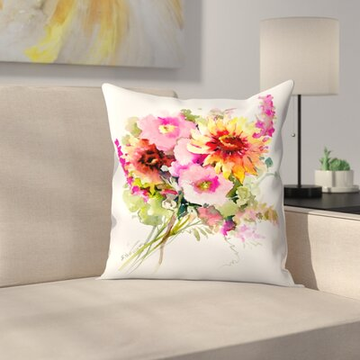 Flowers Throw Pillow Size: 14 x 14