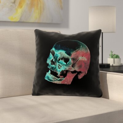 Waterproof Skull Throw Pillow Color: Red/Blue/Black, Size: 16 x 16