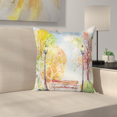 Autumn Park Tree Lantern Square Pillow Cover Size: 24 x 24
