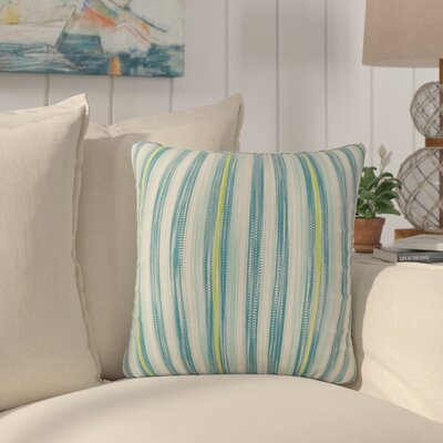 Mary-Kate Striped Down Filled 100% Cotton Throw Pillow Size: 22 x 22, Color: Aqua Green