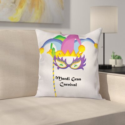 Mardi Gras Carnival Party Icons Square Cushion Pillow Cover Size: 24 x 24