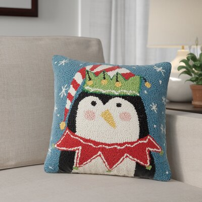Holiday Penguin Wool Throw Pillow with Hidden Zipper Backing