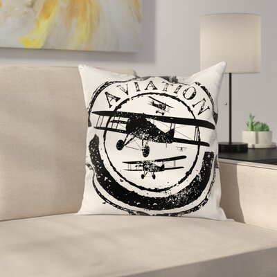 Vintage Airplane Aviation Retro Square Pillow Cover Size: 16 x 16