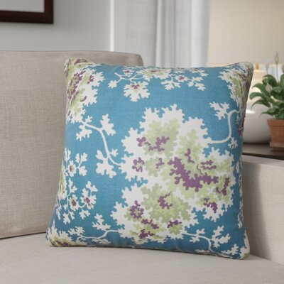 Murley Floral Cotton Throw Pillow Color: Blue