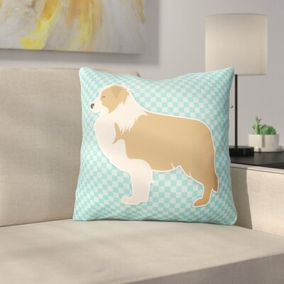 Border Collie Square Indoor/Outdoor Throw Pillow Size: 14 H x 14 W x 3 D, Color: Blue