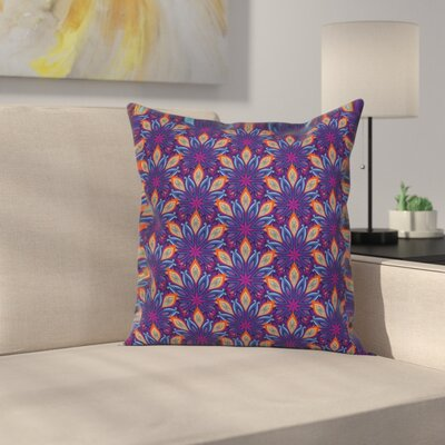 Mandala Vibrant Floral Ornate Square Pillow Cover Size: 24 x 24