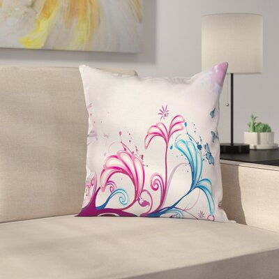 Flowers and Butterflies Cushion Pillow Cover Size: 16 x 16