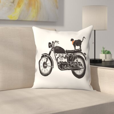 Purrfect Road Trip Throw Pillow Size: 16