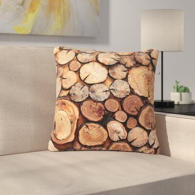 Susan Sanders Rustic Wood Logs Outdoor Throw Pillow Size: 18 H x 18 W x 5 D