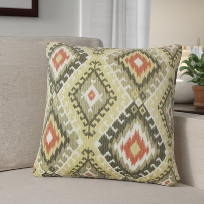 Karolyne Ikat Cotton Throw Pillow Color: Red/Black