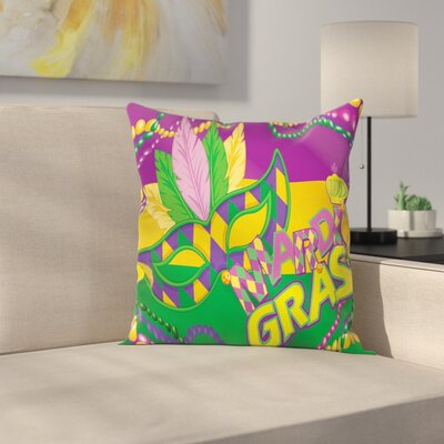 Mardi Gras Vivid Beads Feathers Square Cushion Pillow Cover Size: 18 x 18