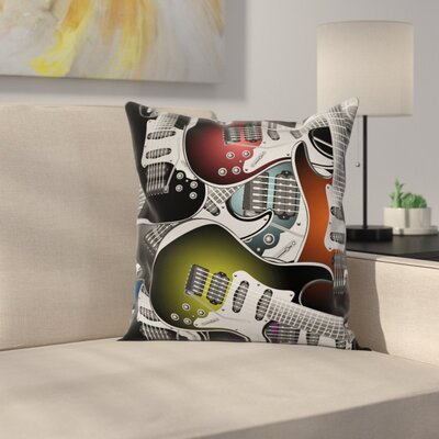 Colorful Guitars Square Pillow Cover Size: 16