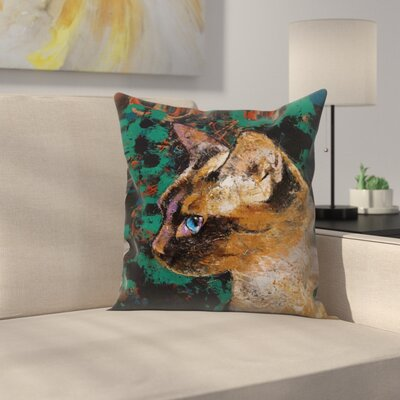 Michael Creese Siamese Cat Portrait Throw Pillow Size: 18 x 18