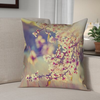 Ghost Train Cherry Blossoms Faux Leather Pillow Cover Size: 16 H x 16 W