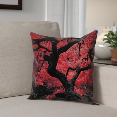 Ghost Train Japanese Maple Tree Square Pillow Cover Color: Red, Size: 18 x 18