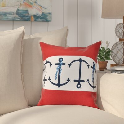 Hancock Anchor Stripe Print Throw Pillow Size: 16 H x 16 W, Color: Red