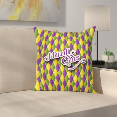 Mardi Gras Hand Writing Design Square Cushion Pillow Cover Size: 24 x 24