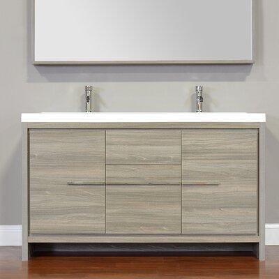Garett Modern 57 Double Bathroom Vanity Set Base Finish: Gray