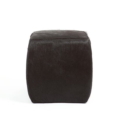 Cobb Square Solid Natural Leather Ottoman Upholstery: Solid Black