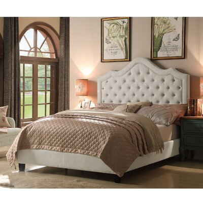 Alisa Queen Upholstered Panel Bed Color: Beige