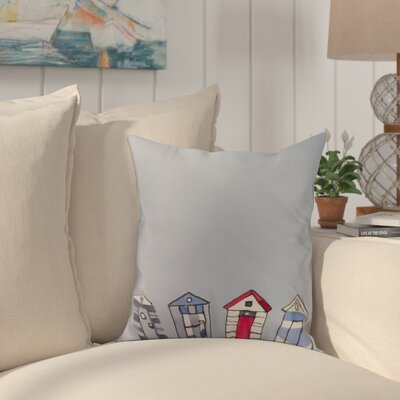 Bryson Beach Huts Print Throw Pillow Color: Ivory, Size: 16 x 16